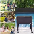 80QT Outdoor Party Portable Rattan Rolling Cooler Cart