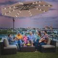 10 Inch Patio Hanging Solar LED Umbrella Sun Shade with Cross Base