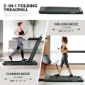 2-in-1 Electric Motorized Fitness Folding Treadmill with Dual Display and Smart App Control