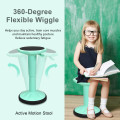 Adjustable Active Learning Stool Sitting Home Office Wobble Chair with Cushion Seat -Green