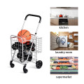 Folding Shopping Basket Rolling Trolley with Adjustable Handle