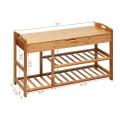 3-Tier Bamboo Shoe Bench Entryway Storage Rack