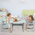 Kids Table and 2 Chairs Set with Storage Shelf