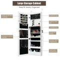 Lockable Wall Door Mounted Mirror Jewelry Cabinet with LED Lights