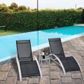3 pcs Outdoor Patio Pool Lounger Set