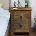 Wood 2 Storage Sliding Drawers End Nightstand