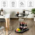 Glass Serving Rolling Bar Cart with Metal Frame