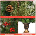 5' LED Christmas Tree with Red Berries Pine Cones