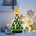 9.5 inch Prelit Hand-Painted Ceramic Battery Powered Christmas Tree