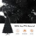 Black Artificial Christmas Halloween Tree with Purple LED Lights