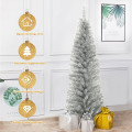 6 Feet Tinsel Artificial Slim Pencil Christmas Tree with Electroplated Technology  for Indoor and Outdoor