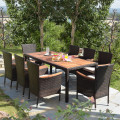 9 Pcs Patio Rattan Dining Set 8 with Stackable Chairs Cushioned and Acacia Wood Table Top