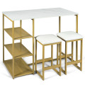 3 pcs Dining Set with Faux Marble Top Table and 2 Stools