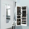 Wall and Door Mounted Mirrored Jewelry Cabinet with Lights