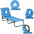 Outdoor Folding Chaise Beach Pool Patio Lounge Chair Bed with Adjustable Back and Hole