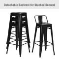 30 Inch Set of 4 Metal Counter Height Barstools with Low Back and Rubber Feet