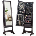 Lockable Mirrored Jewelry Cabinet with Stand and LED Lights
