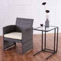 Sofa End Table Coffee Side Table with Glass Top