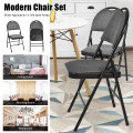 6 Pack Folding Chairs Portable Padded Office Kitchen Dining Chairs