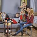 "17"" Italian Style Design Wooden Globe Liquor Bottle Wine Rack with Wheels"