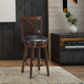Swivel X-back Upholstered Counter Height Bar Stool with PVC Cushioned Seat