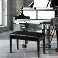 Solid Wood PU Leather Piano Double Storage Keyboard Bench