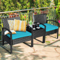 3 Pieces Outdoor Rattan Patio Conversation Set with Seat Cushions