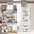 Free Standing Tall Bathroom Corner Storage Cabinet with 3 Shelves