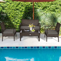 4 Pcs Patio Rattan Cushioned Furniture Set with Loveseat and Table