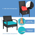 3 Piece PE Rattan Wicker Sofa Set with Washable and Removable Cushion for Patio