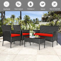 4 Pcs Patio Rattan Cushioned Sofa Furniture Set with Tempered Glass Coffee Table
