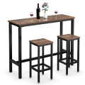 3 Pieces Bar Table Counter Breakfast Bar Dining Table with Stools
