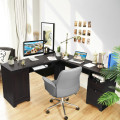 66 Inch L-Shaped Writing Study Workstation Computer Desk with Drawers