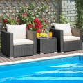3 Pcs Patio wicker Furniture Set with Cushion