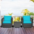 3 Pieces Patio Wicker Furniture Set with Cushion