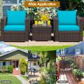 3 Pieces Patio Conversation Rattan Furniture Set with Cushion