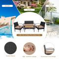 4 Pcs Patio Rattan Furniture Set Sofa Chair Coffee Table with Cushion
