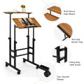 Height Adjustable Mobile Standing Desk with Rolling Wheels for Office and Home