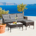 3 Pieces Patio Furniture Sectional Set with 5 Cozy Seat and Back Cushions
