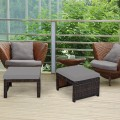 2 Pieces Cushioned Patio Rattan Ottoman Foot Rest