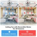 50 inch Electric Crystal Ceiling Fan with Light Adjustable Speed Remote Control