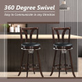 """Set of 2 Swivel Bar Stools 29.5"""" Bar Height Chairs with Rubber Wood Legs"""