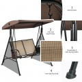 2 Seat Patio Porch Swing with Adjustable Canopy Storage Pockets