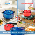 2 Pieces Ceramic Cookware Set with Lid and Insulated Handle