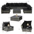 7 Pieces Patio Rattan Furniture Set Sectional Sofa Garden Cushion