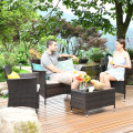 4 Pieces Rattan Sofa Set with Glass Table and Comfortable Wicker for Outdoor Patio