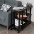 360° Rotating Sofa Side Table with Storage Shelves and Wheels