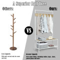 3 in 1 Industrial Coat Rack with 2-tier Storage Bench and 5 Hooks