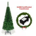 4.5 ft Pre-Lit Premium Hinged Artificial Fir Pencil Christmas Tree with LED Lights