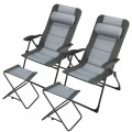Set of 2 Patiojoy Patio Folding Dining Chair with Adjustable Set Ottoman Recliner